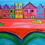 Kleurrijke stad met huisjes en 2cv's