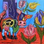 Koe kijkt naar Tulpen