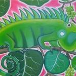 Iguana in Zeedruif