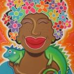Vrouw met leguaan (Señora & Iguana orange)