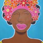 Dame met bloemen in het haar