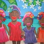 Antilliaanse kinderen aan het strand