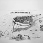 Gestrand vissersbootje