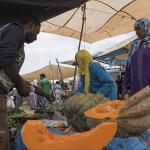 Meloenen op markt in Marokko
