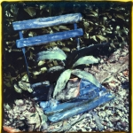 Blauw klapstoeltje