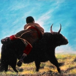 Tibetaanse jongen met jak