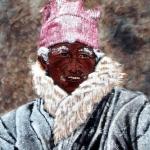 Tibetaanse man met sneeuw