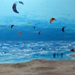 Kitesurfers op IJmuiden strand