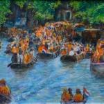 Feest, bootjes op de Amsterdamse gracht