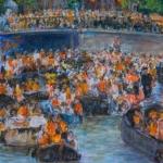 Feestbootjes op de Amsterdamse gracht