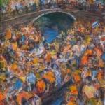 Oranje drukte op de gracht in Amsterdam