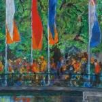 Kunstkaart kroningsfeest in Amsterdam