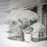 Fruit stall on snowy day Kunming.