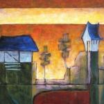 Boerderij bij zonsopkomst