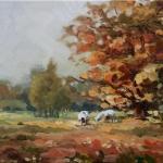 Witte koeien in de herfst