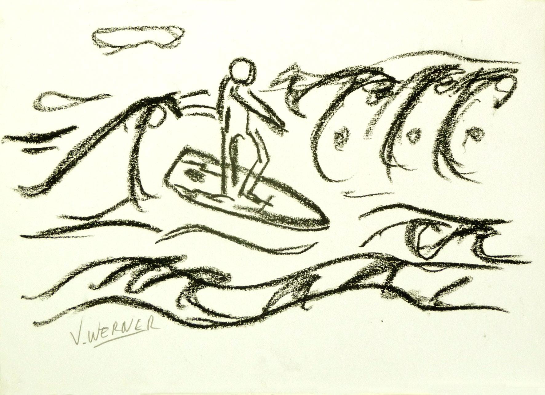 Surfer op de golven - zwart wit strand tekeningen, te koop