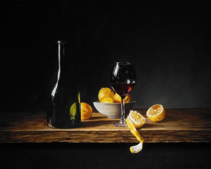 Wijnglas en fles (40 x 50 cm)