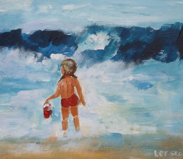 kindje in de golven