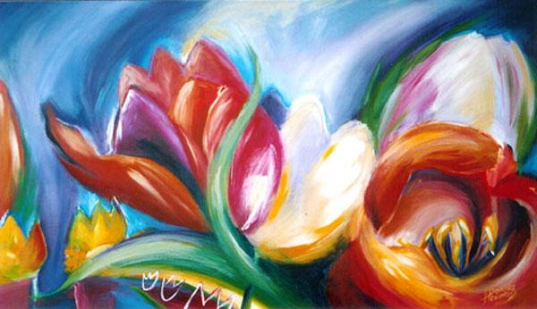Tulpen schilderij tulpen abstracte kunst bloemen kleurrijke bloemen