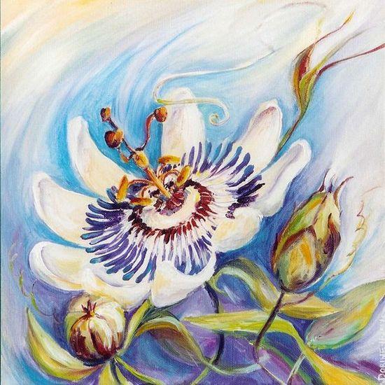 Dorine van laak hendrikx schilderij passiebloem acryl for Schilderijen van bloemen
