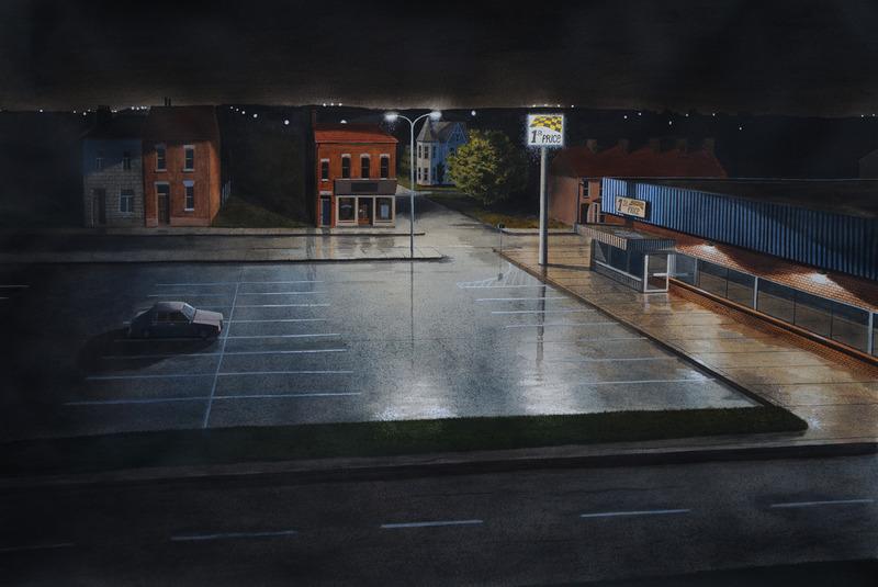 Buitenwijk bij nacht