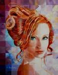 Omdat deze stijl van werken zeer intensief is, en veel tijd vraagt, kan ik er slechts enkele per jaar maken.Het zijn eigenlijk 800 abstracte schilderijtjes die tezamen een portret vormen.