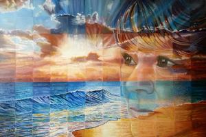 Square schilderijen die een scene laten zien met verbeeldingskracht. Waar de toeschouwer zich in kan verplaatsen.