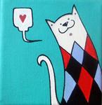KiekeboeKAT - Ik hou van katten! Deze ontwerpen zijn spontaan ontstaan uit mijn schilderijen en zijn ondertussen een echt merk geworden. Formaat is meestal 10x10cm, acryl en mixed media op canvas en soms op andere materialen. Ook mogelijk in opdracht te maken, info@shethinksincolors.nl