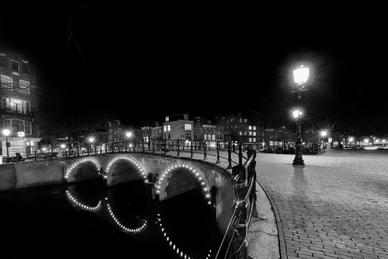 Amsterdam @ night in BW 4