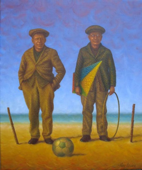 Twee mannen aan de bal