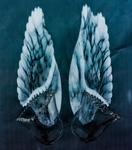 fotocollage van glasobjecten geprint op textiel als wandkleed/gordijn