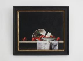 Giclée van Stilleven met aardbeien en slagroom