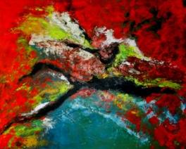 compositie in rood en groen