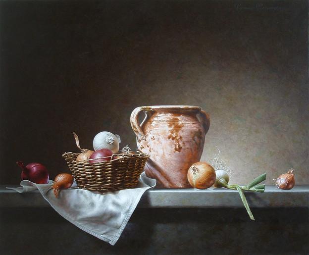 Stilleven met pot en uien