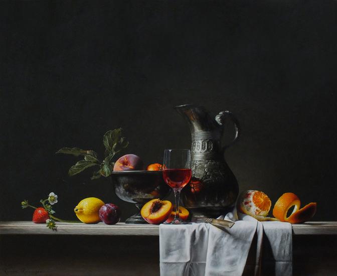 Stilleven met kan en fruit