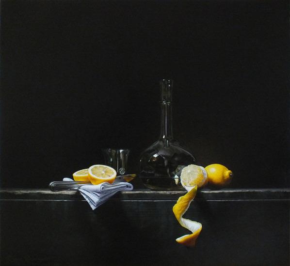 Stilleven met witte wijn en citroenen