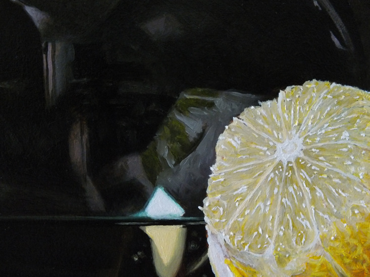 Detail 5 van witte wijn en citroenen