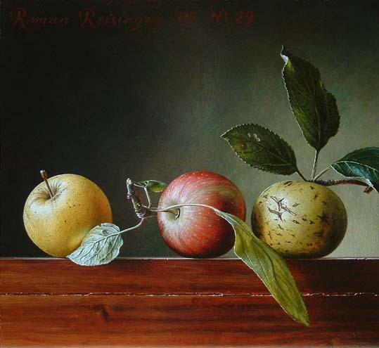 Stilleven met 3 appels
