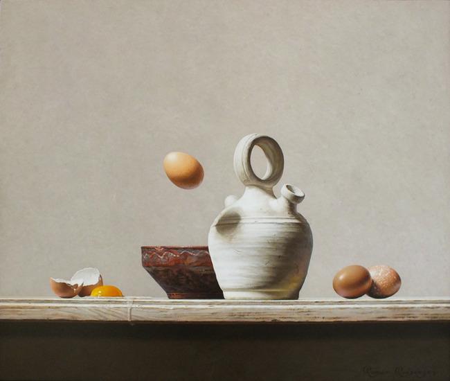 Stilleven met aardewerk en eieren
