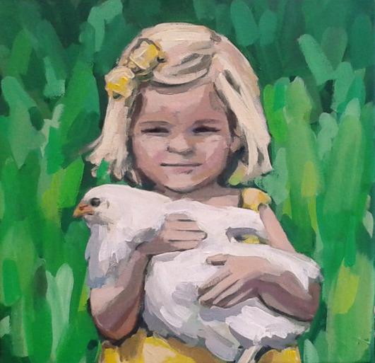 Meisje met kip (gele jurk)