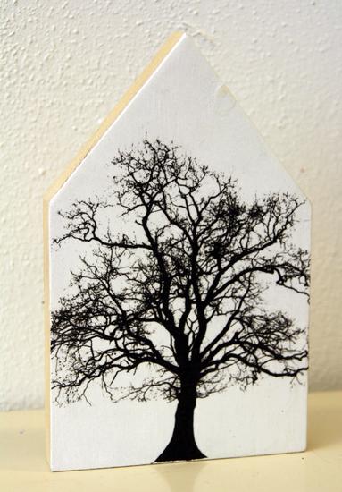Huis met boom in zwart wit
