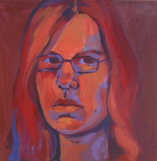 Zelfportret in rood