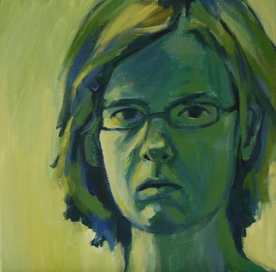 Zelfportret in groen en blauw