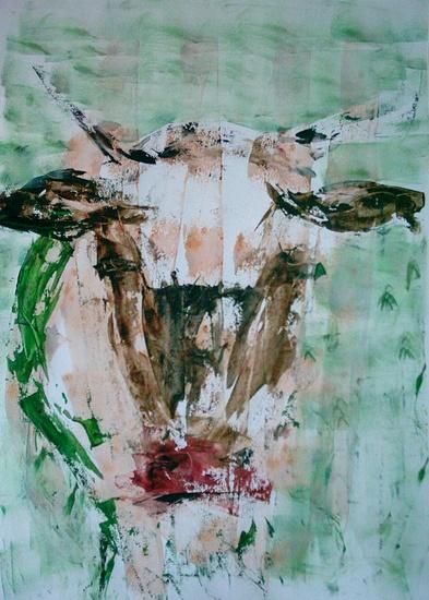 Koe in bruin en groen