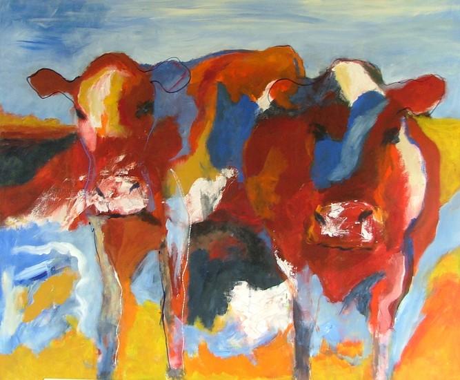 Koeien in roden, gelen en blauwen