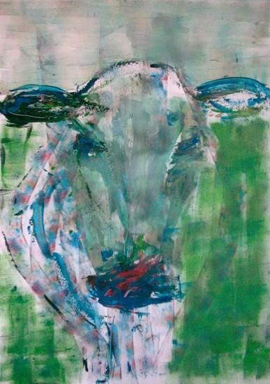 Koe in blauw en groen