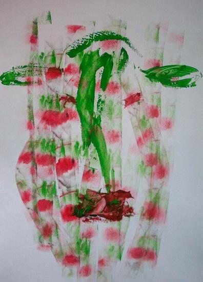 Koe in groen en rood