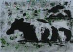 Deze werken zijn intieme portretten van verschillende koeienrassen in voor hen kenmerkende houdingen. Ze zijn geschilderd met roller, paletmes, tube en kwast. Ze liggen en staan in een vaag landschap, dat geïnspireerd is op het landschap van de Zuid Hollandse en Utrechtse polders, waarmee ik mij intens verbonden voel..