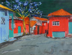 Serie expressief geschilderde landschappen op papier