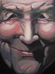 Acrylverf op paneel. Doorgroefde gezichten